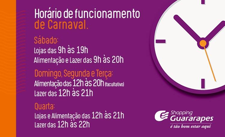 Horário de funcionamento de 02 a 06 de março.