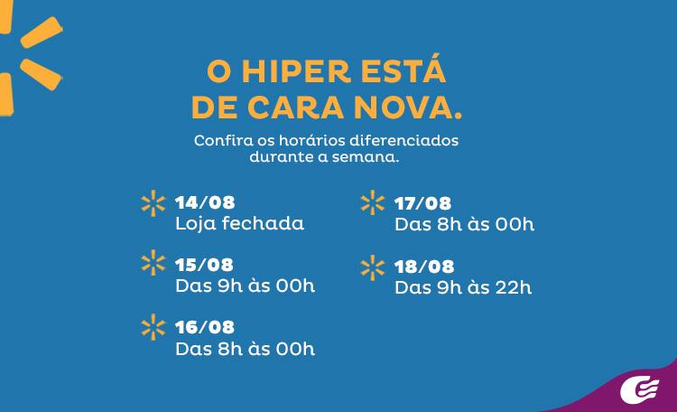 Confira os horários de funcionamento na semana de reinauguração do Hiper Bompreço