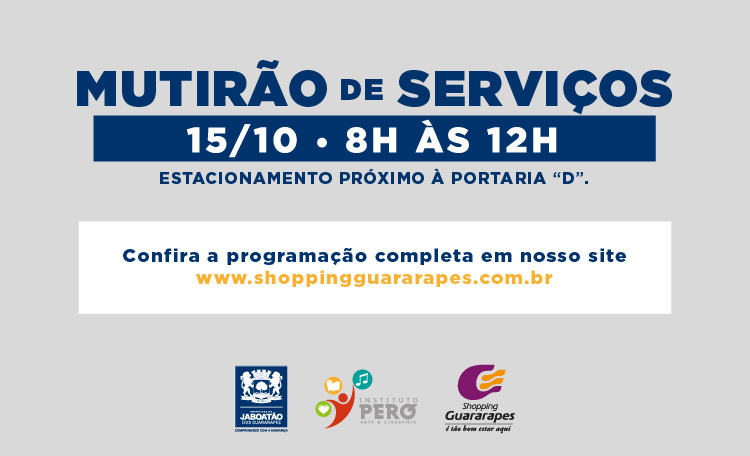 Mutirão da Prefeitura realiza serviços gratuitos no estacionamento, próximo à Lojas Americanas.