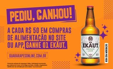 Pediu, ganhou! A cada R$50 em pedidos de alimentação, você leva de brinde uma cerveja Ekäut Premium.