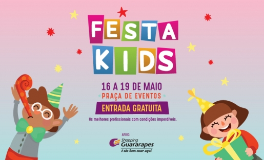 """Feira infantil """"Festa Kids"""" traz programação gratuita para crianças no Shopping Guararapes"""