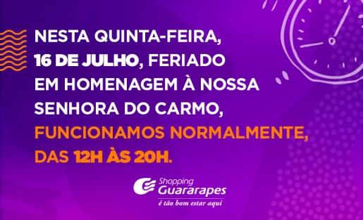 Dia 16 de julho é feriado em Recife, mas por aqui funcionaremos normalmente.
